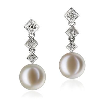 Paar Ohrringe mit weißen, 9-10mm großen Süßwasserperlen in AAAA-Qualität , Paulina