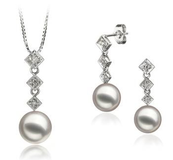 8-9mm AAA-Qualität Japanische Akoya Perlen Set in Paulina Weiß