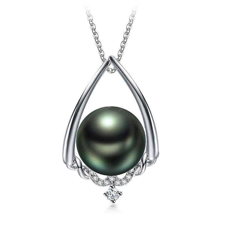 10-11mm AAA-Qualität Tahitisch Perlenanhänger in Susan Schwarz