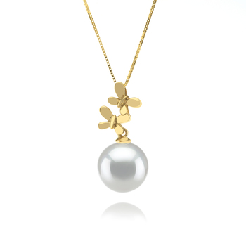 10-11mm AAA-Qualität Südsee Perlenanhänger in Barbara Weiß
