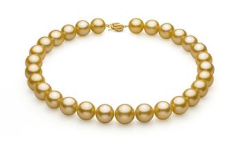PearlsOnly - Halskette mit goldfarbenen, 14-15.7mm großen Südseeperlen in