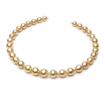 Halskette mit goldfarbenen, 10.1-12.5mm großen Südseeperlen in Barock-Qualität , Goldene 18-Zoll