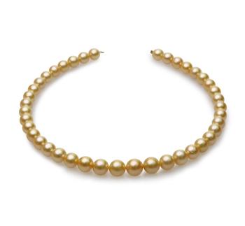 Halskette mit goldfarbenen, 9-12mm großen Südseeperlen in AA-Qualität , 18-Zoll