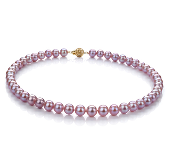 8.5-9.5mm AAA-Qualität Süßwasser Perlenhalskette in Lavendel