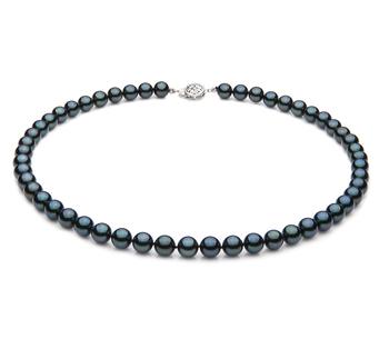 PearlsOnly - Halskette mit schwarzen, 7-7.5mm großen Janischen Akoya Perlen in AA-Qualität