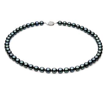 Halskette mit schwarzen, 7-7.5mm großen Janischen Akoya Perlen in AAA-Qualität