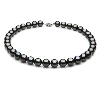 9.5-10.5mm AAA-Qualität Süßwasser Perlenhalskette in Schwarz