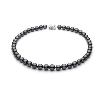 Halskette mit schwarzen, 9.1-11mm großen Tihitianischen Perlen in AA+-Qualität