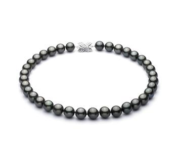 Halskette mit schwarzen, 10.9-13.8mm großen Tihitianischen Perlen in AAA-Qualität