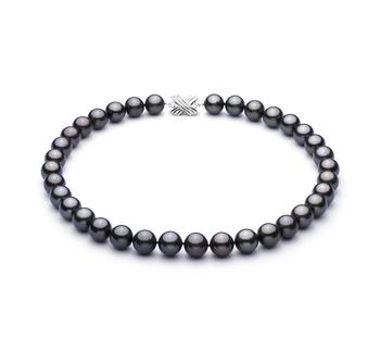 Halskette mit schwarzen, 11.1-11.94mm großen Tihitianischen Perlen in AAA-Qualität