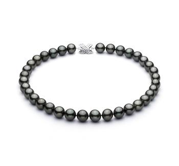Halskette mit schwarzen, 11.3-12.18mm großen Tihitianischen Perlen in AAA-Qualität