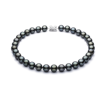 Halskette mit schwarzen, 12-12.93mm großen Tihitianischen Perlen in AAA-Qualität , 18''