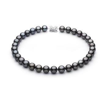 Halskette mit schwarzen, 12.01-13.08mm großen Tihitianischen Perlen in AAA-Qualität