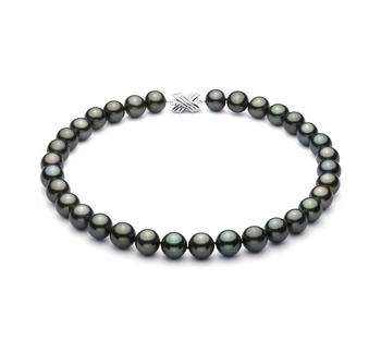 Halskette mit schwarzen, 12-12.87mm großen Tihitianischen Perlen in AAA-Qualität