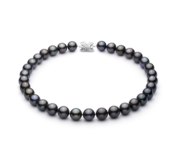 Halskette mit schwarzen, 12-12.89mm großen Tihitianischen Perlen in AAA-Qualität