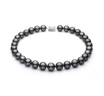 Halskette mit schwarzen, 13-15.5mm großen Tihitianischen Perlen in AAA-Qualität