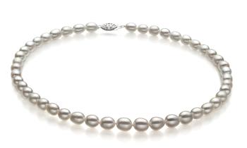 Halskette mit weißen, 8.5-9.5mm großen Süßwasserperlen in AA-Qualität , Tropfen