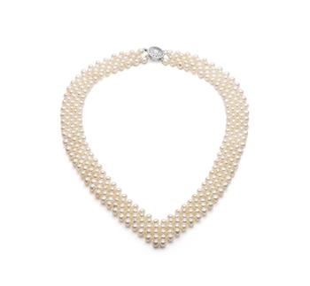 Halskette mit weißen, 3-4mm großen Süßwasserperlen in AA-Qualität , V-neck
