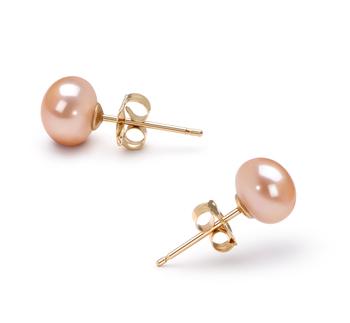 Paar Ohrringe mit rosafarbenen, 5.5-6mm großen Süßwasserperlen in AAA-Qualität