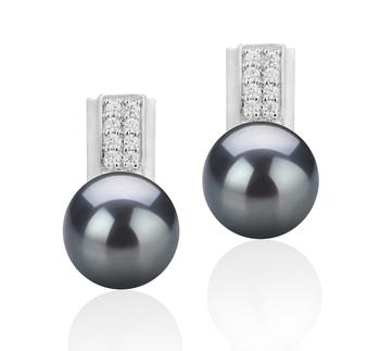 Paar Ohrringe mit schwarzen, 8-9mm großen Süßwasserperlen in AAA-Qualität , Alina