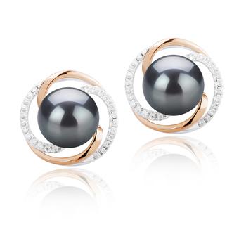 Paar Ohrringe mit schwarzen, 8-9mm großen Süßwasserperlen in AAAA-Qualität , Zina