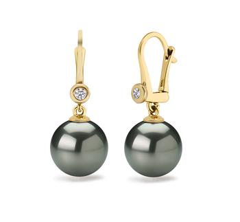 8.5-9mm AAAA-Qualität Süßwasser Paar Ohrringe in Illuminate Schwarz