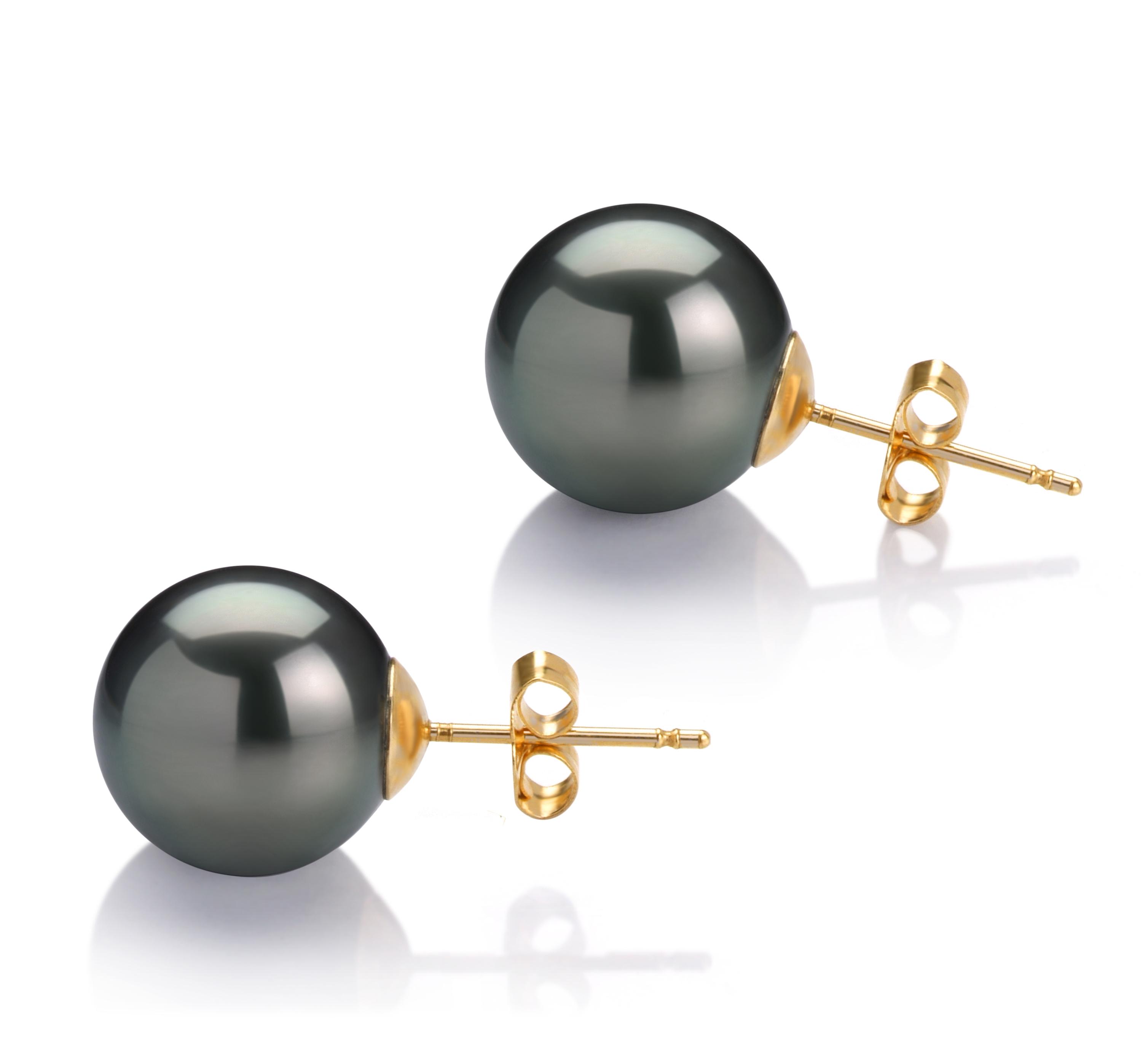 11-12mm AAA-Qualität Tahitisch Paar Ohrringe in Schwarz