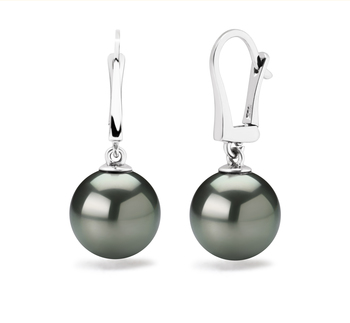 10-11mm AAA-Qualität Tahitisch Paar Ohrringe in Schwarz
