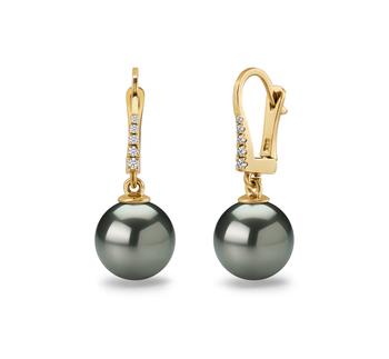 10-11mm AAA-Qualität Tahitisch Paar Ohrringe in Sparkle Schwarz