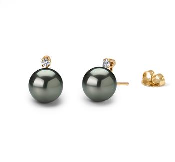 9-10mm AAA-Qualität Tahitisch Paar Ohrringe in Eternity Schwarz