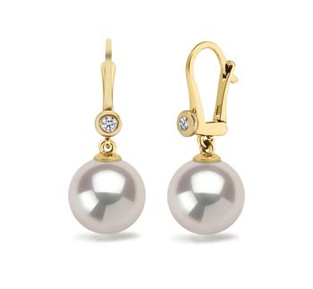 Paar Ohrringe mit weißen, 7.5-8mm großen Janischen Akoya Perlen in AAA-Qualität , Illuminate