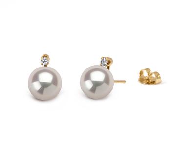 Paar Ohrringe mit weißen, 7-8mm großen Janischen Akoya Perlen in AAA-Qualität , Eternity
