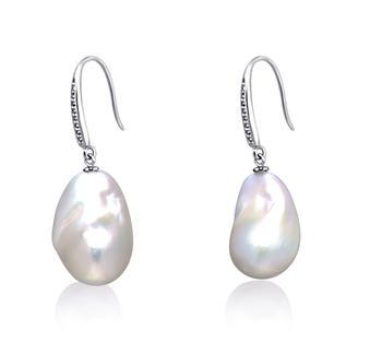 14-15mm AA+-Qualität Süßwasser - Edison Paar Ohrringe in Weiß