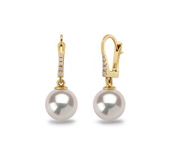 9-10mm AAAA-Qualität Süßwasser Paar Ohrringe in Sparkle Weiß