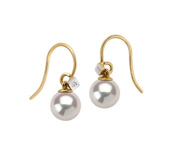 8-8.5mm AAAA-Qualität Süßwasser Paar Ohrringe in Artsy Weiß