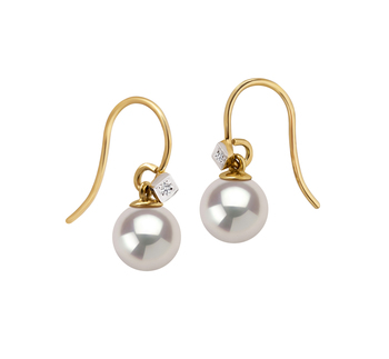 7-8mm AAAA-Qualität Süßwasser Paar Ohrringe in Artsy Weiß