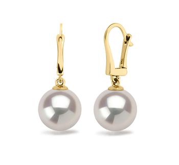 9.5-10mm AAAA-Qualität Süßwasser Paar Ohrringe in Elements Weiß