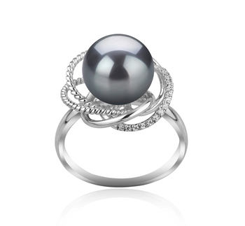 9-10mm AAA-Qualität Tahitisch Perlenringe in Bobbie Schwarz
