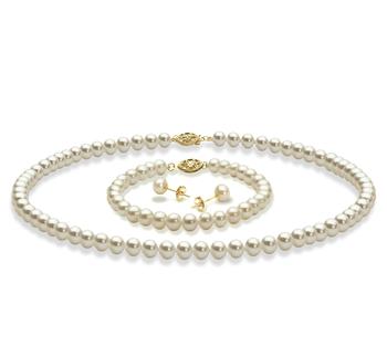 5-6mm AAA-Qualität Süßwasser Perlen Set in Weiß