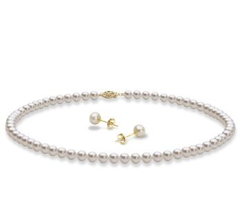 Set mit weißer, 5-6mm großer Süßwasserperle in AAA-Qualität , Halskette und Ohrringe