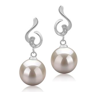 8-9mm AAAA-Qualität Süßwasser Paar Ohrringe in Priscilla Weiß