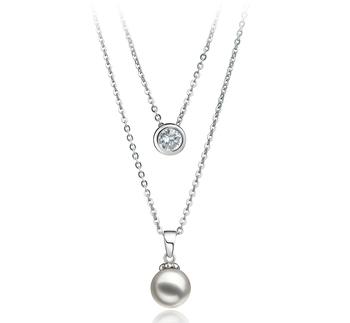 Halskette mit weißen, 7-8mm großen Janischen Akoya Perlen in AA-Qualität , Ramona