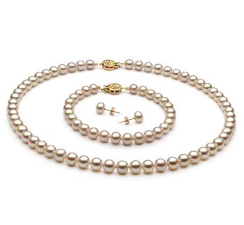 6-7mm AAA-Qualität Süßwasser Perlen Set in Ranjana Weiß