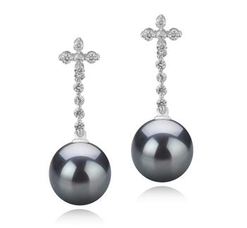 Paar Ohrringe mit schwarzen, 10-11mm großen Tihitianischen Perlen in AAA-Qualität , Raquel