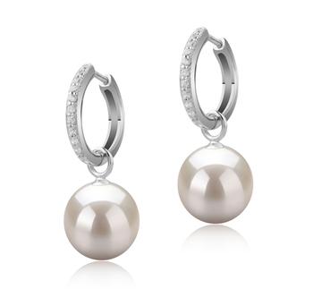 Paar Ohrringe mit weißen, 10-11mm großen Süßwasserperlen in AAAA-Qualität , Rosalind
