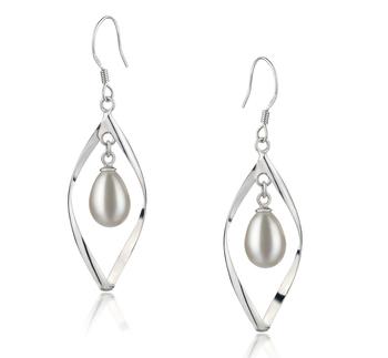 Paar Ohrringe mit weißen, 7-8mm großen Süßwasserperlen in AA - Fall-Qualität , Sabrina