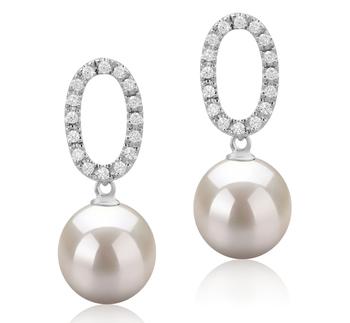 9-10mm AAAA-Qualität Süßwasser Paar Ohrringe in Sabrina Weiß