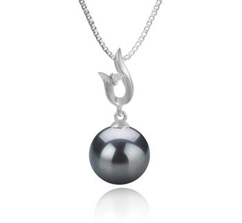 Anhänger mit schwarzen, 9-10mm großen Tihitianischen Perlen in AAA-Qualität , Samantha