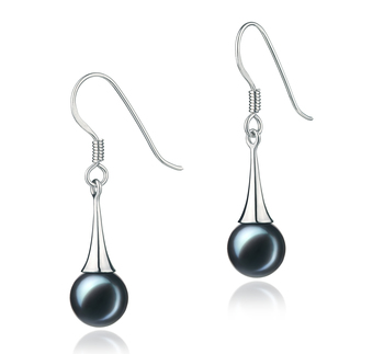Paar Ohrringe mit schwarzen, 7-8mm großen Janischen Akoya Perlen in AA-Qualität , Sandra