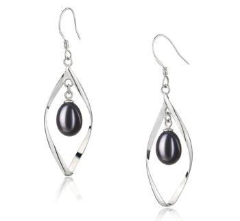 Paar Ohrringe mit schwarzen, 7-8mm großen Süßwasserperlen in AA - Fall-Qualität , Sandy
